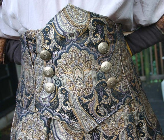 Steampunk Underbust Corset Belt Gold and Black Floral Tapestry Cloth