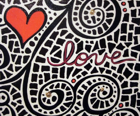 Love Mosaic Original 8x10 painting