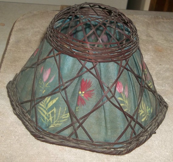 Antique Victorian Wicker Lamp Shade with Painted Silk Lining