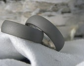 Titanium Ring SET Matte Sandblasted Gray Wedding Bands