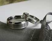 Titanium Ring Set with Silver Inlay, Matching Wedding Bands