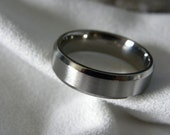 Titanium Ring, Wedding Band, Narrow Beveled Edges