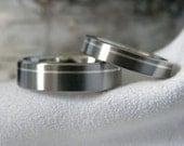 Titanium Ring SET, Offset Pinstripe Silver Inlay, Rings, Mens Ring, Ladies Ring