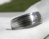 Titanium Silver Ring Domed Profile Double Silver Pinstripe Inlays