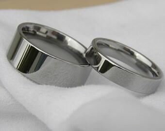 Ring Set, Titanium Wedding Bands, Polished Mirror Finish