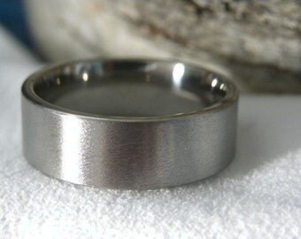 Titanium Ring, Stone Finish, Wedding Band AX16