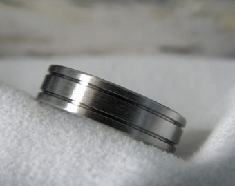 Titanium Ring or Wedding Band, Two Groove, Brushed Finish