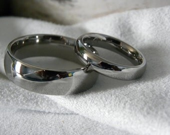 Matching Rings, Titanium Ring SET, Wedding Bands, Polished, Domed
