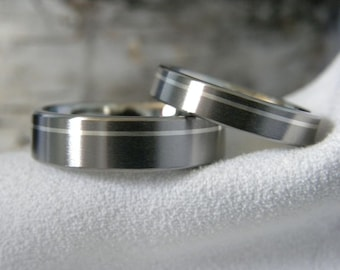 Titanium Ring SET, Offset Pinstripe Silver Inlay, Rings, Mens Ring, Ladies Ring