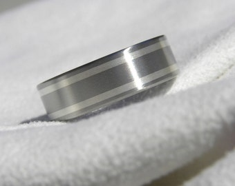 Titanium ring band with sterling silver inlays satin finish AX91