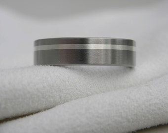 Titanium Ring with Silver Inlay Stripe Wedding Band Satin Finish