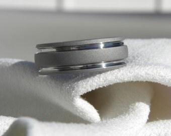 Titanium Ring, Sandblasted Gray, Wedding Band AX32