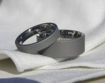 Matching Ring SET or Titanium Wedding Bands Sandblasted Finish