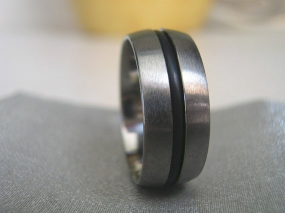 Items Similar To Titanium Black Rubber Ring Or Wedding Anniversary Band On Etsy