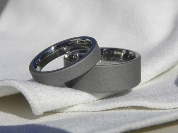 Matching Ring SET or Titanium Wedding Bands Sandblasted Finish