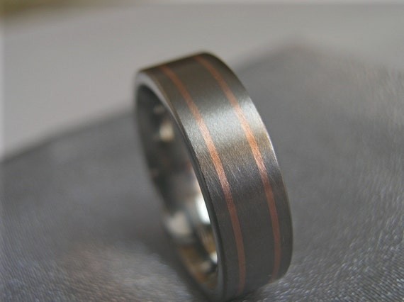 Titanium Double Narrow Rose Gold Inlay Ring Wedding Band