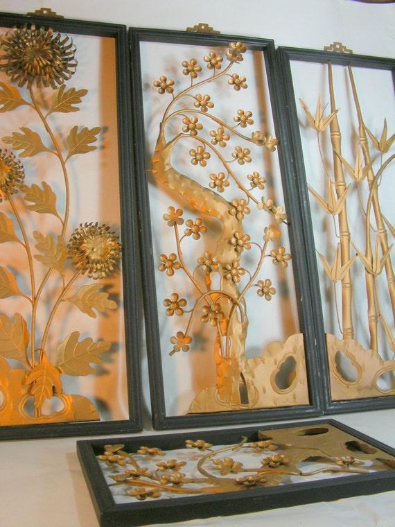 Beautiful Vintage Cut Metal Floral Decorative Panels