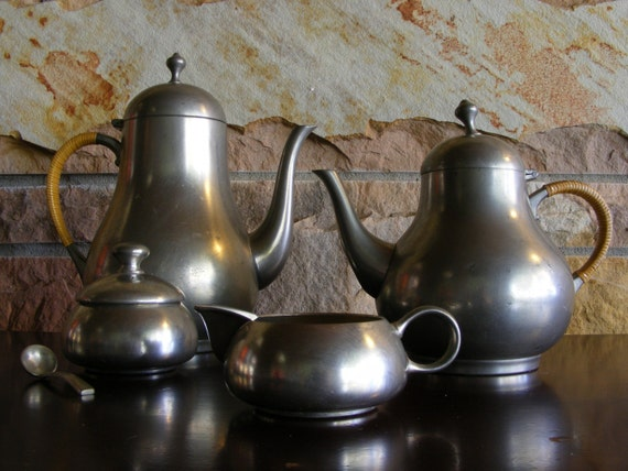 Pewter Vintage Coffee and Tea Pots with Cream and Sugar Set