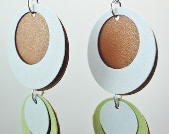 Paper Earrings in Copper, Blue and Green