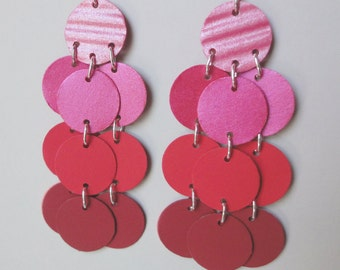 Paper Earrings in Pink Red and Orange