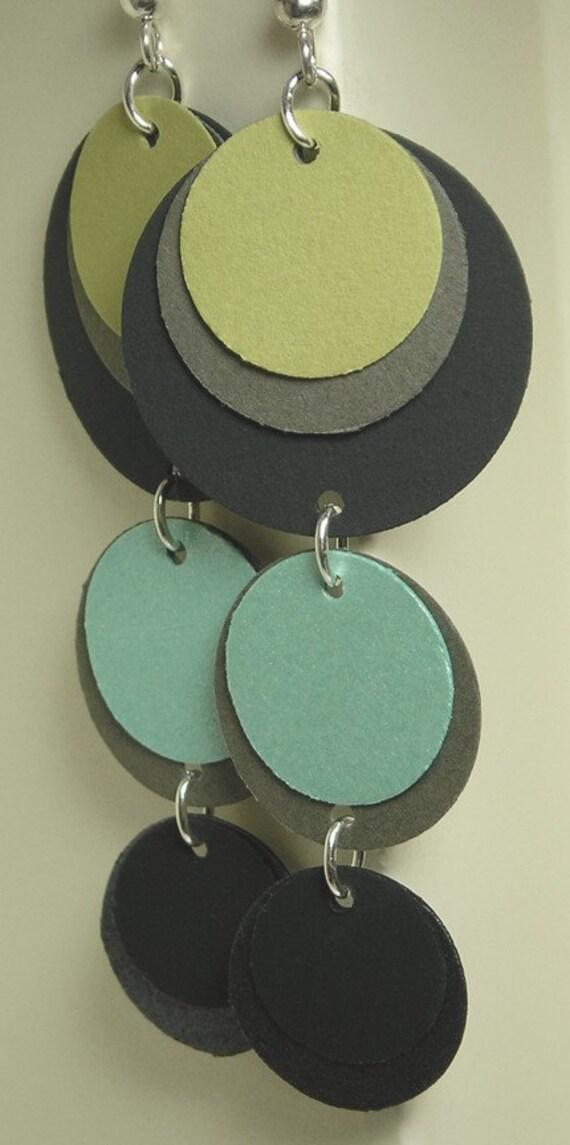 Olive Green and Blue Dangler Paper Earrings