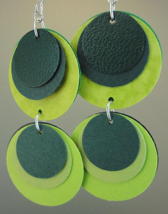 Paper Earrings in Bright Greens