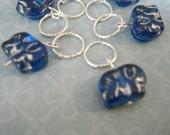 Blue Elephant Stitch Markers