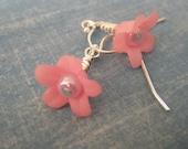 Pink Flower Bauble Earrings