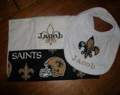New Orleans Saints Bib and Burp Cloth set