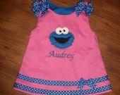 Cookie Monster jumper dress sizes 6m to 6 yrs Sesame Street