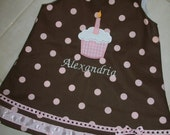 Chocolate and pink polka dot Birthday cupcake dress with removable bows