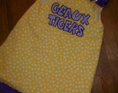 Geaux Tigers yellow dot jumper dress