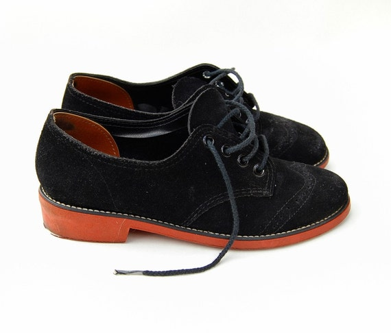 suede saddle shoes black leather oxfords size 5 6 by djvv