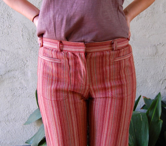 vtg 1960s rust red striped threads . . . . . xs sm med
