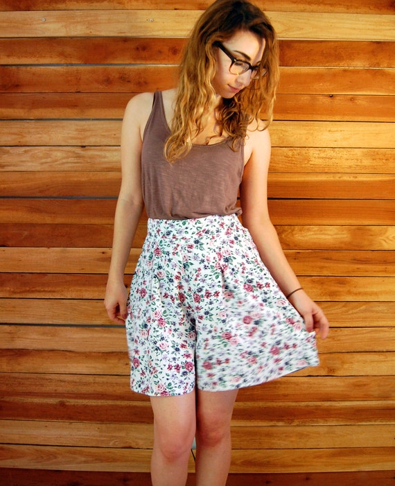 airy floral white shorts . . . . . . . . .small medium