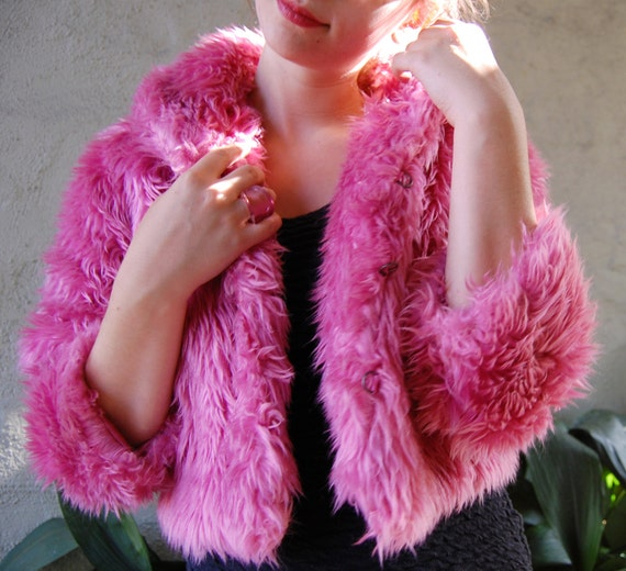 the luscious . . . . . . . . . pink faux fur collared cropped jacket
