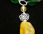 Yellow Rose Choker - Recycled Glass, Gemstones, Sterling
