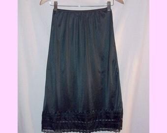 Long Black Nylon Half 1/2 Slip Vintage 80s S Lacey Sheer Hem