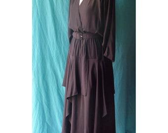 SALE on Black Avante Garde Batwing Random Ruffles Vintage 80's Dress S M