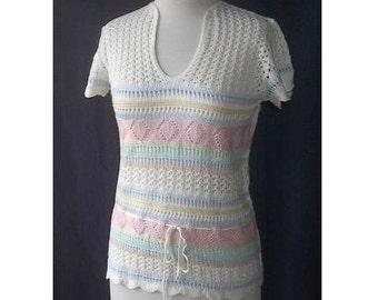 Pastel Lacey Open Crochet Sweater XS S Vintage 70s
