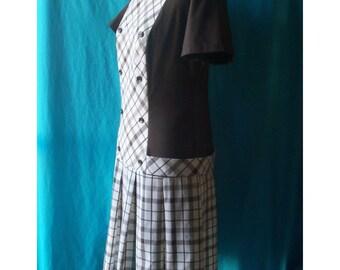 Brown Plaid Box Pleats Schoolgirl Dress M RAB Indie Drop Waist
