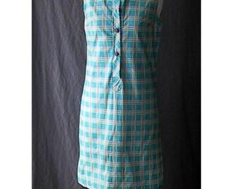 NOS Turquoise Blue Cutie Vintage 60s Sleeveless Shift Dress B37  S