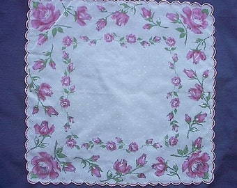 Sheer Hankie Pink Screen Print Roses on White with Polka Dots Vintage 40s