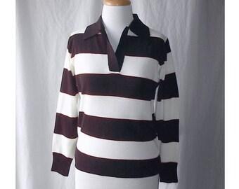 Preppy Vintage 1970s Striped Polo Sweater Cream and Black Kimlon Acrylic M Rugby