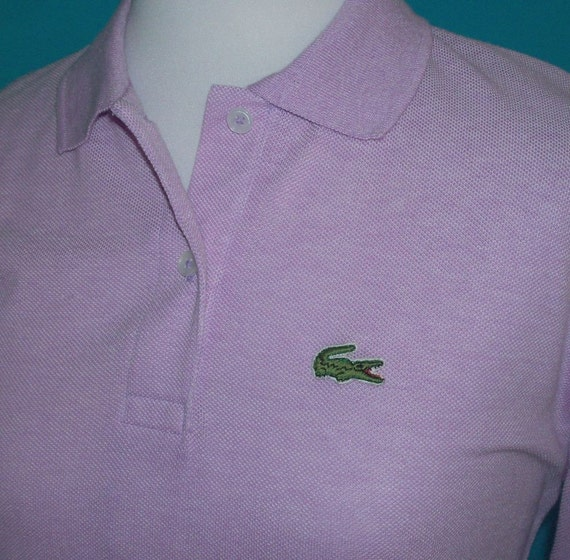 Izod lacoste lilac alligator logo polo shirt top vintage 80s l for Lacoste shirts with big alligator