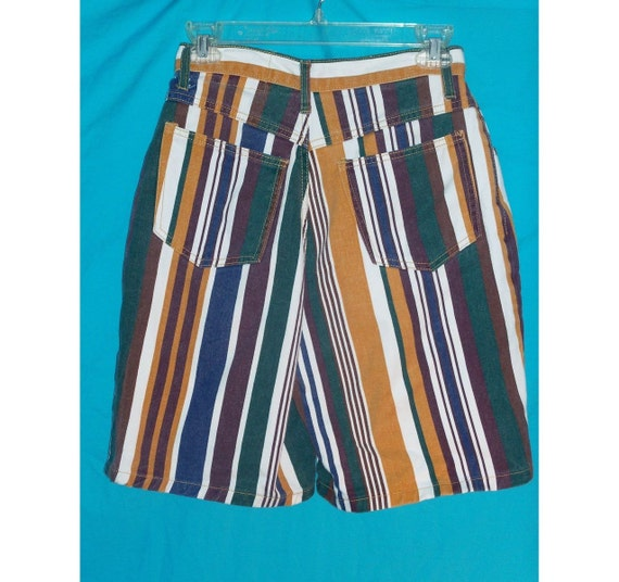 Reserved for Kwong Candace Only Bold Striped High Waist Denim Shorts W26 H40 Vintage 80s