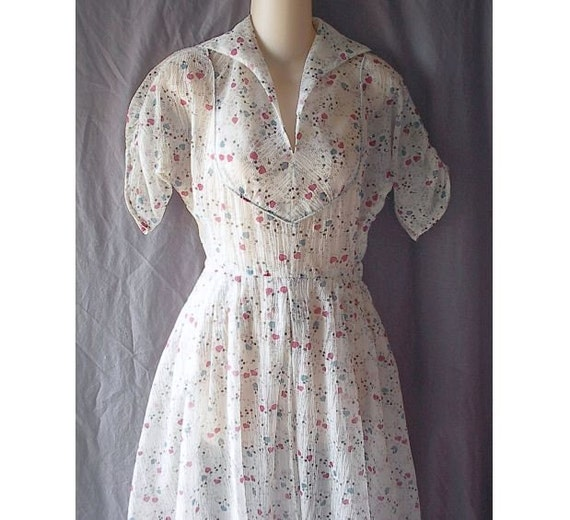 Sheer 50's Day Dress Hearts and Cherries Print Vintage Swing  XS B32