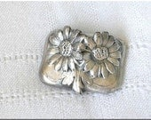 Floral Lid, Boho, Silver Plate Container, Vintage Villa, Daisies, Gardner, Florist,