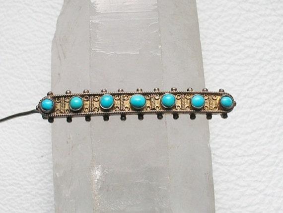 Sterling Brass And Turquoise Vintage Collar Pin Goddess V-V