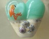 Flamingo heart, glass handmade lampwork focal bead SRA UK